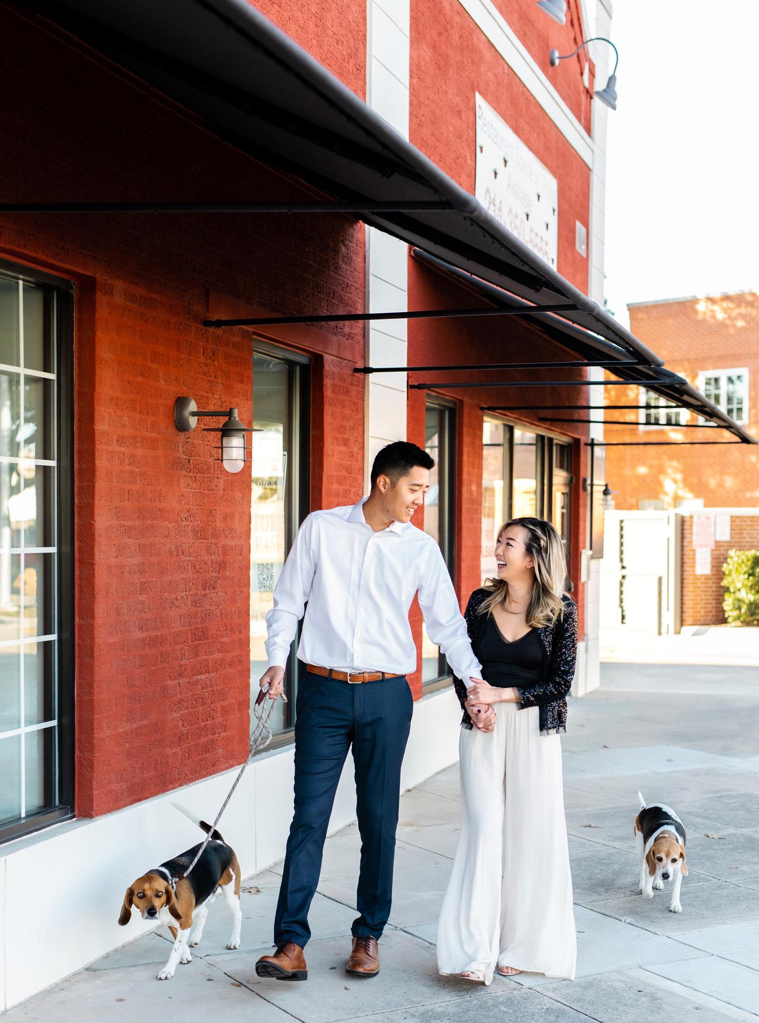 historic downtown carrollton engagement photos