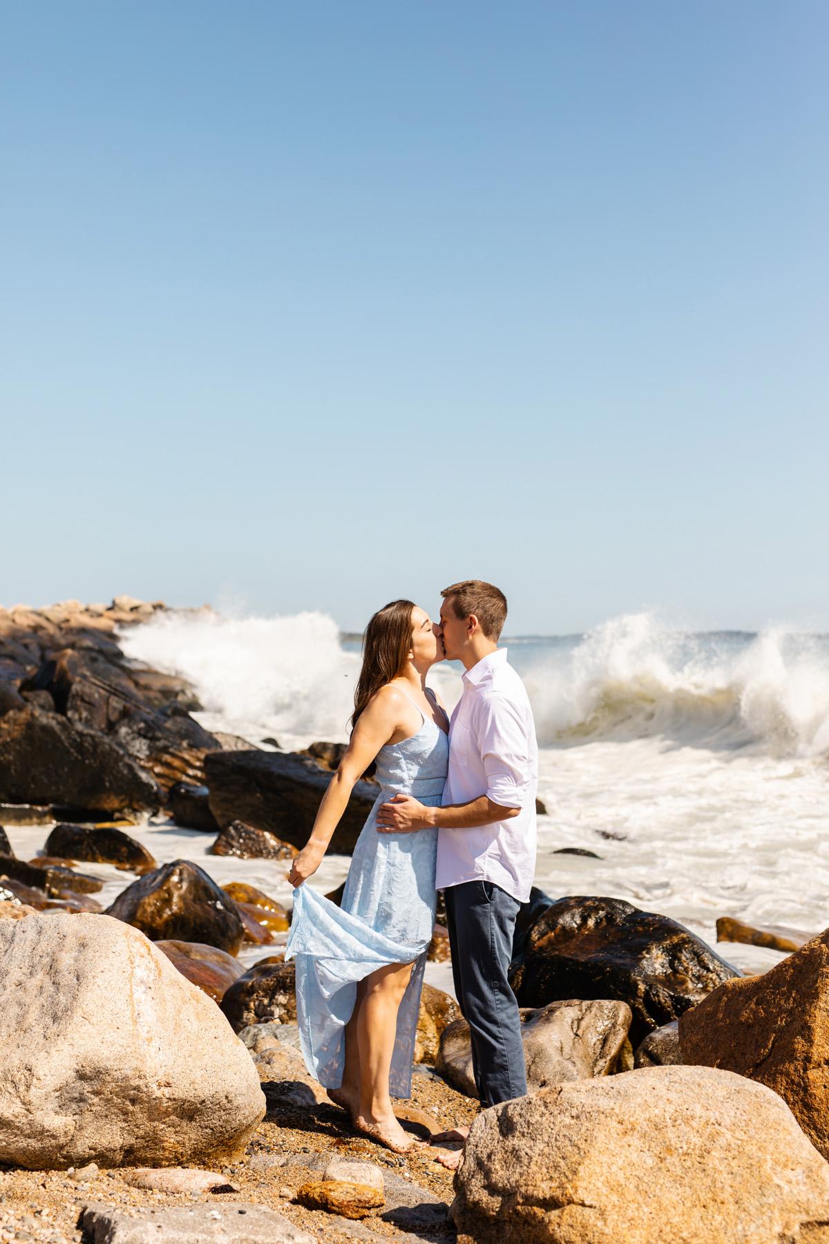 Narragansett, Rhode Island Beach Engagement Photos