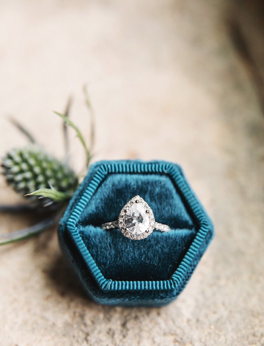 Pear shaped engagement ring by Monika Normand Photography