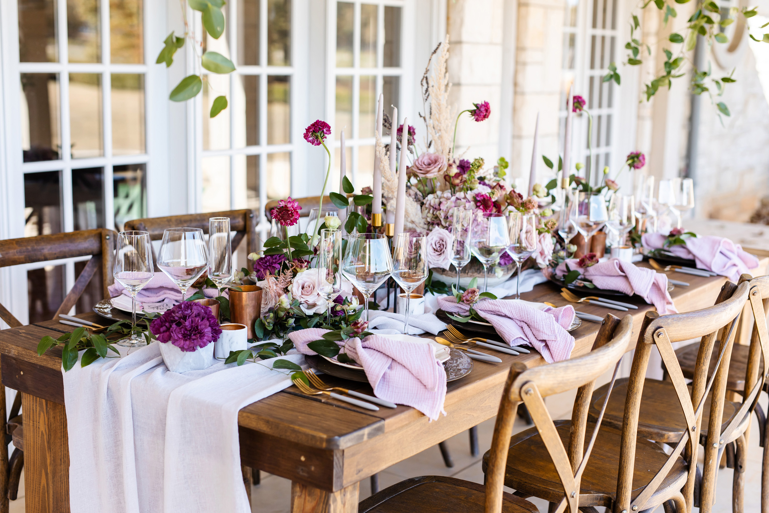 Purple wedding palette with pampas grass