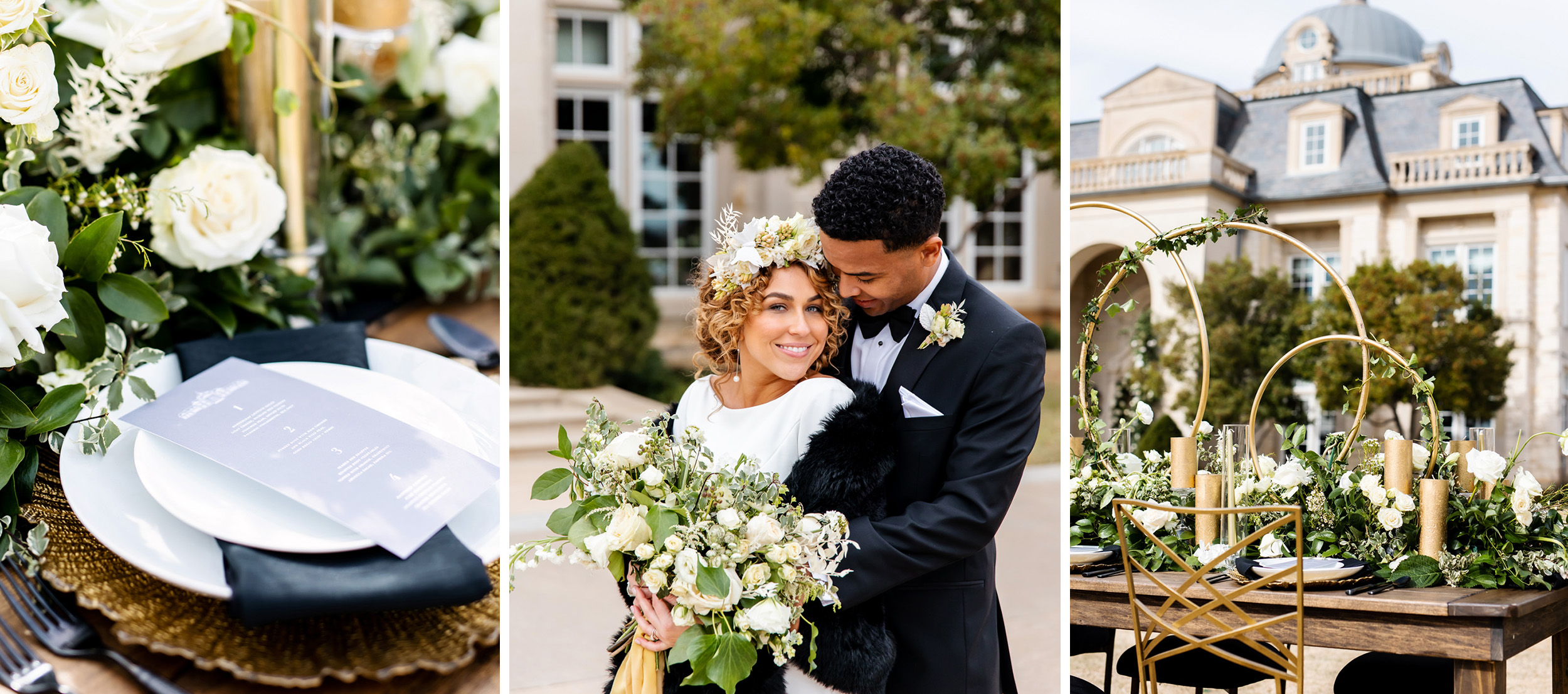 black and white classic wedding