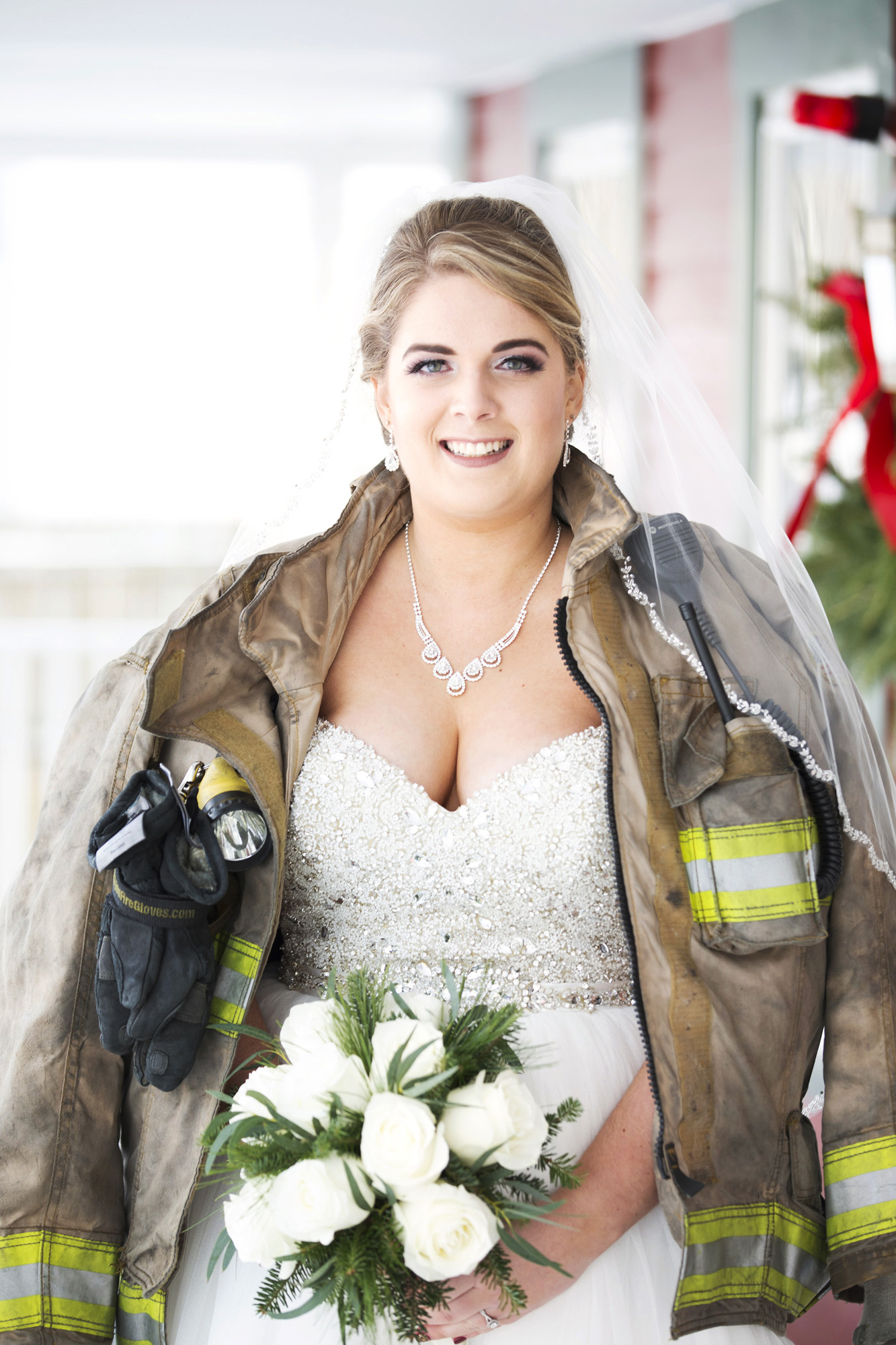 Winter Wedding Firefighter Bride